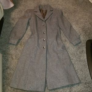 Vintage long gray fit and flare pea coat